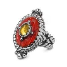 Carolyn Pollack Sterling Silver Spiny Oyster Shell, Citrine Sedona Sunrise Ring