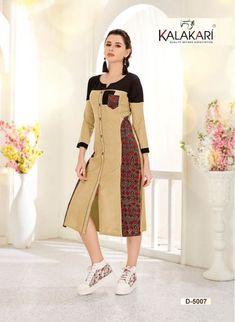 Kalakari NX presents Saanvi Rayon with cotton printed kurtis with stitching pattern kurtis full catalog Kurti Patterns, Salwar Designs, Fashion Corner, Wool Dress, Indian Designer Wear, Pakistani Dresses, Long Tops, Indian Wear, Dress Collection