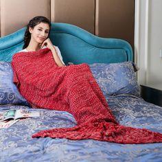 Red Knitted Mermaid Blanket Crochet Mermaid Tail Blanket for Adult mermaid,mermaid blanket,mermaid tail,mermaid tails,mermaid tail blanket,mermaid blanket for adults,mermaid blanket for kids