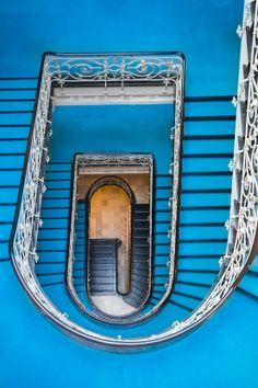 Blue staircase in Hamburg, Germany