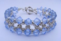Sterling Silver and Light Sapphire  Swarovski Crystal Chainmaille Bracelet £45.00