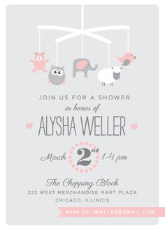 baby shower invitations - Baby Mobile by Olive and Violet
