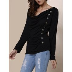 14.01$  Buy now - http://divw9.justgood.pw/go.php?t=135519908 - Vogue Cowl Neck Long Sleeve With Button Blouse For Women 14.01$