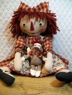Primitive Cute Raggedy Ann type doll & sock by yellowsweetpotato, $32.95
