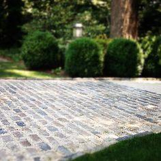 cobblestone and gravel driveway
