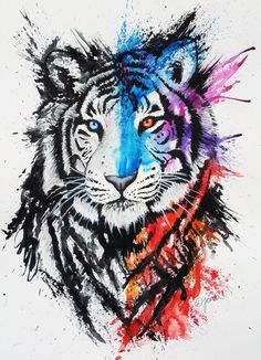 Тигр, акварель, тату tattoo for life malarstwo, rysunki и grafika. Amazing Drawings, Beautiful Drawings, Cool Drawings, Amazing Art, Colorful Drawings, Awesome, Watercolor Tiger, Watercolor Pencils, Tattoo Watercolor