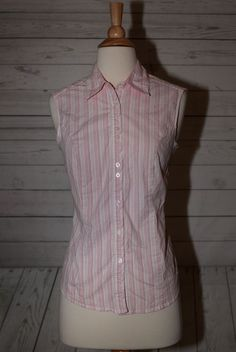 Riders Instantly Slims You Size M, Medium Button Down Sleeveless Top Shirt Pink  | eBay