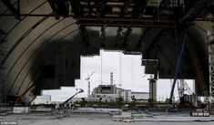 A general view shows the construction of the New Safe Confinement (NSC) structure at the site of the Chernobyl nuclear reactor Chernobyl Nuclear Power Plant, Chernobyl Disaster, Nuclear Reactor, Nuclear Disasters, Abandoned Houses, Modern Architecture, Around The Worlds, Mail Online, Daily Mail