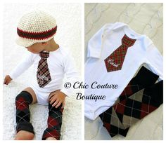 Baby Boy Personalized Tie Bodysuit. 1st Valentine's Day & Leg Warmers SET. Hounds tooth Plaid Herringbone, First 1st Birthday Outfit Holiday
