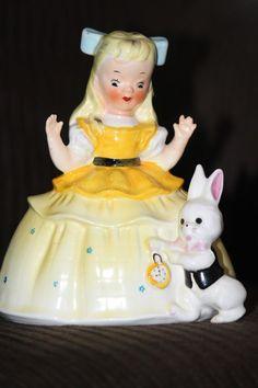 Very Rare 1956 Napco Alice In Wonderland Piggy Bank. Pristine Condition. A1894B