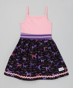 Look at this Pink & Black Wild Horses Dress - Infant, Toddler & Girls on #zulily today!