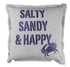 "Fancy - Beach Hut Cushion ""Salty Sandy Happy"" Coastal Decor - THE NAUTICAL COMPANY Nautical Clothing Breton Coastal Decor"