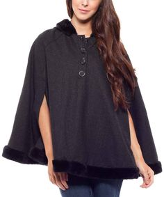 Look at this Black Faux Fur Hooded Cape on #zulily today!