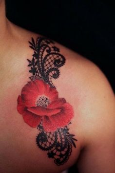 Lace and Flower Tattoo Design.