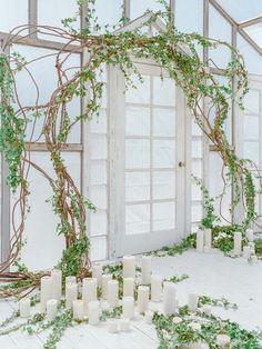 wedding ceremony decor - photo by Wedding Nature Photography http://ruffledblog.com/modern-indoor-garden-wedding-inspiration