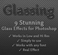 Buy Glassing - Glass Styles by Vsuals on GraphicRiver. 9 Stunning Glass Styles for Photoshop - Works in low and hi-res - Easy to use - Works with all fonts - Real Effect Ho. Photoshop Text Effects, Cool Photoshop, How To Use Photoshop, Photoshop Tutorial, Photoshop Actions, J Words, All Fonts, Photo Manipulation, Graphic Design