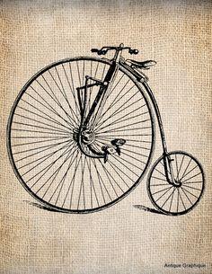Antique Steampunk Bicycle Vintage 2   Illustration  Digital Download for Papercrafts, Transfer, Pillows, etc Burlap No 1229. $1.00, via Etsy.