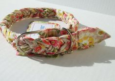 IN STOCK Ready To Ship Rapunzel Wear Recycled Cotton Pet Collar - Cream Pink Floral Mini Print