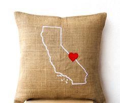 Burlap Pillows- State Pillow- Embroidered pillow- Personalized Pillow- Customized Cushion- Gift- 18x18- Burlap Cushion- California Pillow