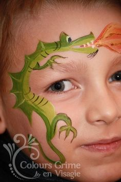 I want to try this dragon face painting design!