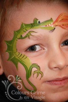 Dragon Face Paint Design #facepaint #kids #Dragon                                                                                                                                                     More