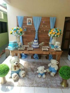 Decoration for a perfect baby shower. Boy Baby Shower Themes, Baby Shower Parties, Baby Boy Shower, Baby Shower Gifts, Baby Showers, Teddy Bear Baby Shower, Girl Themes, Deco Table, Baby Birthday