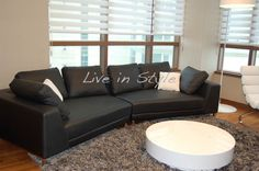 Max6029 - Curved Leather Sofa
