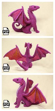 Amigurumi Dragon Free Pattern – Free Amigurumi Crochet Crochet Dinosaur Patterns, Crochet Dragon Pattern, Crochet Amigurumi Free Patterns, Crochet Motif, Crochet Dolls, Crochet Stitches, Free Crochet, Knitting Patterns, Crochet Crafts