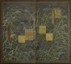 A two-fold silk on paper screen painted in ink and colour on a silver ground with grasses and shikishi (poem slips) Unknown (19th century Edo/Meiji period)