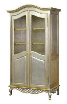 Grand Armoire with Wire Mesh Doors with Silver and Gold Gilding