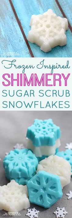 Shimmery Snowflake Sugar Scrub Cubes - snowflake sugar scrub bars (inspired by the movie Frozen!) are a super cute, quick, easy and inexpensive DIY homemade holiday gift idea!  Happiness is Homemade