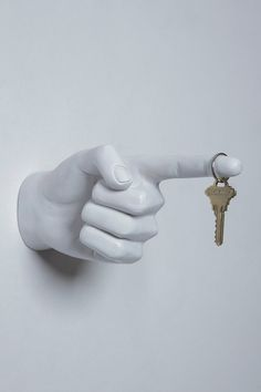 White One Finger Pointing Wall Hook
