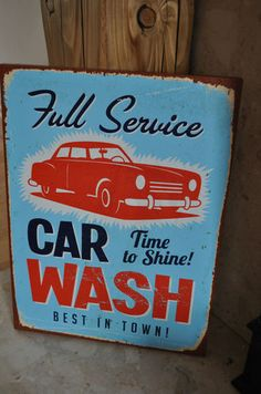 car wash - retro vintage - art on canvas - wall canvas at stores.ebay.co.uk/bellsvintageboutique