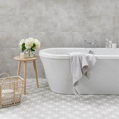 Laura Ashley plain dove grey wall floor tile 298mm x 498mm | VictoriaPlum.com