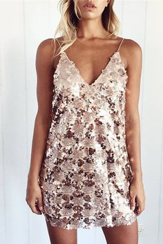 Make you hot, hot, hot with this special sequin design mini dress. It is sure you will love it thanks to the sequin design, v-neck and sleeveless. Team it up with high heels.