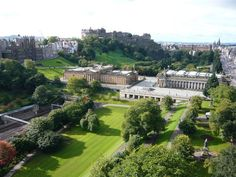 Ariel view of The National Galleries and Princes Street Gardens