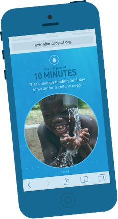 The UNICEF Tap Project. Just 10 minutes away from your phone and UNICEF will fund for a day of clean water! This small contribution will allow you to help UNICEF provide water for those who don't have access to it. Marketing, Kinder In Not, Access To Clean Water, Detox Challenge, Finance, Smartphone, Social Entrepreneurship, Good Cause, Children In Need