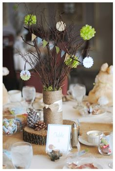 woodland themed baby shower... But cute decorating ideas for a wedding.