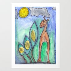 Giraffe Art Print by Ibbanez - $20.80