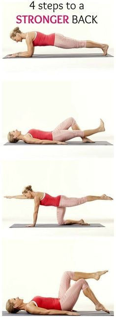 Fitness Tone up with these 4 Simple Steps to a Stronger Back. Do these exercises, from physical therapist Renée Garrison, for five minutes a day to help ward off low back pain. - Heal your lower back pain with these back pain exercises. Fitness Workouts, Fitness Motivation, Lower Ab Workouts, Back Pain Exercises, Butt Workout, Yoga Fitness, Health Fitness, Yoga Exercises, Stretches