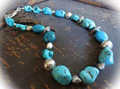 Chunky Western Gemstone Cowgirl Necklace  by MakingWavesCapeCod