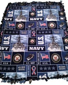 United States Navy Fleece Tie Blanket US by BlanketsUnlimited