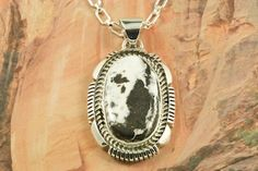 Genuine White Buffalo Turquoise set in Sterling Silver Pendant. This Beautiful Stone is formed from the minerals Calcite and Iron. It is mined near Tonopah Nevada. Free 18