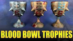 I painted up some Blood Bowl trophies that I had a friend print off with his printer. It's a simple paint job but I'm happy with them. Blood Bowl, Dry Brushing, Barbarian, 3d Printing, Printer, Gaming, Projects, Painting, Impression 3d