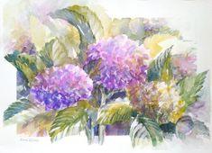 """Exuberance"" - Hydrangeas in all their varied colours. 350 x Hydrangeas, Watercolours, Watercolor Paintings, Wildlife, African, Birds, Water Colors, Bird, Watercolour Paintings"
