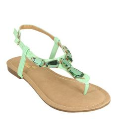Another great find on #zulily! Light Green Embellished Vita Sandal #zulilyfinds