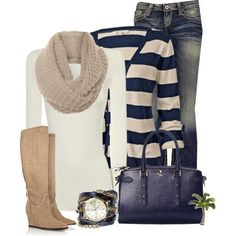 Something cozy to wear when it's cold. #Scarf #Fashion #Navyblue #White #Stripes #Denimskinnyjeans #Trends #Beigeboots #Wardrobe #Fall #Style #Fashionforward