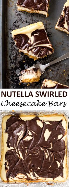 Rich and Creamy Nutella Swirled Cheesecake Bars. Layered with a buttery graham…
