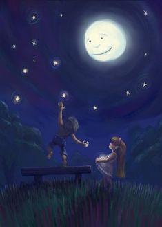 Stars From The Night Sky Picture illustration, children, fantasy, love) Fantasy Kunst, Fantasy Art, Adorable Petite Fille, Digital Art Gallery, Moon Pictures, Illustration Mode, Illustration Children, Art Illustrations, Moon Magic
