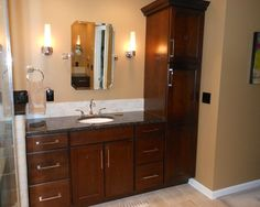 Bathroom Vanity with Linen Tower Ideas - http://www.omalleyspdx.com/bathroom-vanity-with-linen-tower-ideas/